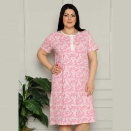 Rozpinana koszula nocna kolor różowy wzór kwiatowy XL 2XL 3XL 4XL