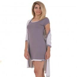 Ecru komplet koszula nocna i szlafrok w kropki z kokardką M L XL