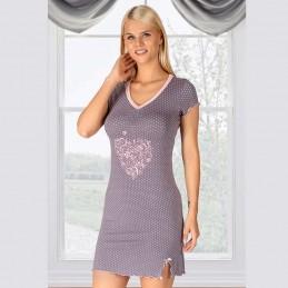 Wygodna koszula nocna damska z nadrukiem krótki rękaw M L XL 2XL