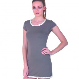 koszula nocna z krótkim rękawem damska kolor brązowy z kokardką M L XL