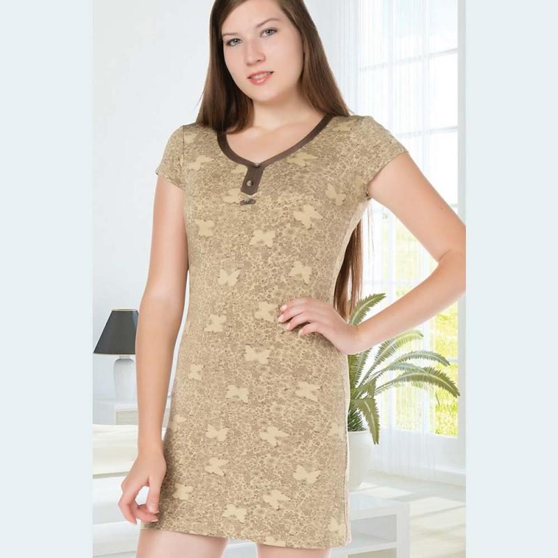 Koszula nocna z krótkim rękawem damska rozpinana kolor musztardowy M L XL