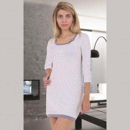 Elegancka jasna koszula nocna z wiskozy w kropki ecru M L XL 2XL