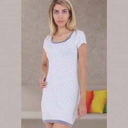 Delikatna biała koszula nocna damska wzór z kokardką XL 2XL 3XL
