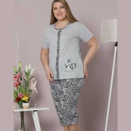 Piżama damska koszula kolor szary z kwiatowym wzorem XL 2XL 3XL 4XL