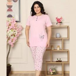 Dwuczęściowa piżama damska bawełniana nadruk z motylkiem XL 2XL 3XL 4XL