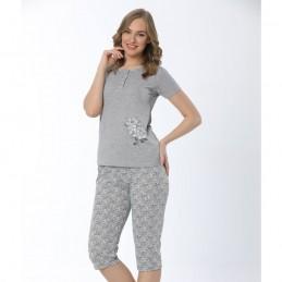Letnia piżama damska w jasnym kolorze wzór w kwiaty M L XL 2XL
