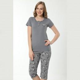 Letnia piżama damska wzór w kwiaty i małe kropki M L XL 2XL