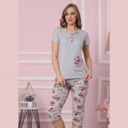 Letnia wygodna piżama damska w jasnym kolorze w piękne kwiaty M L XL 2XL