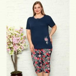 Elegancka piżama damska kolor granatowy plus size rozpinany dekolt XL 2XL 3XL 4XL