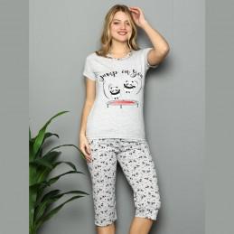 Krótka jasnoszara piżama damska ze ślicznym nadrukiem panda M L XL 2XL