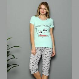 Urocza krótka piżama damska pandy kolor miętowy M L XL 2XL