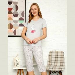 Krótka piżama damska z uroczym wzorem z kotkami M L XL 2XL