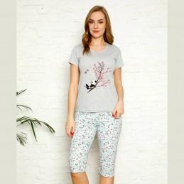 Piżama damska z pandą i drzewem kolor błękitno-szary M L XL 2XL