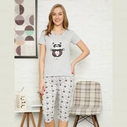 Damska piżama z uroczym nadrukiem z pandą i serduszkami M L XL 2XL