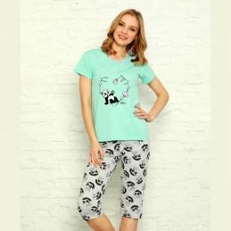 Piżama damska w zielonym kolorze panda z kwiatami M L XL 2XL