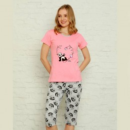 Śliczna piżama damska kolor różowy nadruk panda z serduszkiem M L XL 2XL