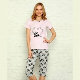 Damska piżama w liliowym kolorze z nadrukiem z pandą M L XL 2XL