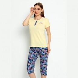 Rozpinana żółta piżama damska długie spodenki w kwiaty M L XL 2XL 3XL