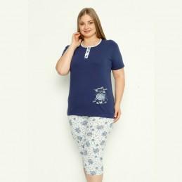 Dwuczęściowa piżama damska z różami w ciemnoniebieskim kolorze XL 2XL 3XL 4XL