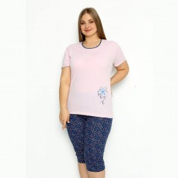 Dwuczęściowa pudrowo różowa piżama damska długie spodenki XL 2XL 3XL 4XL