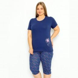 Dwuczęściowa piżama damska kolor granatowy z nadrukiem z kwiatkiem XL 2XL 3XL 4XL