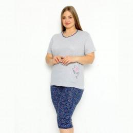 Piżama damska kolor szaro-granatowy dwuczęściowy komplet XL 2XL 3XL 4XL