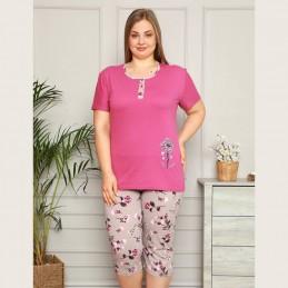 Elegancka piżama damska kolor fioletowy krótki rękaw XL 2XL 3XL 4XL
