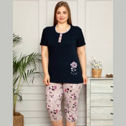 Elegancka granatowa piżama damska w kwiaty XL 2XL 3XL 4XL