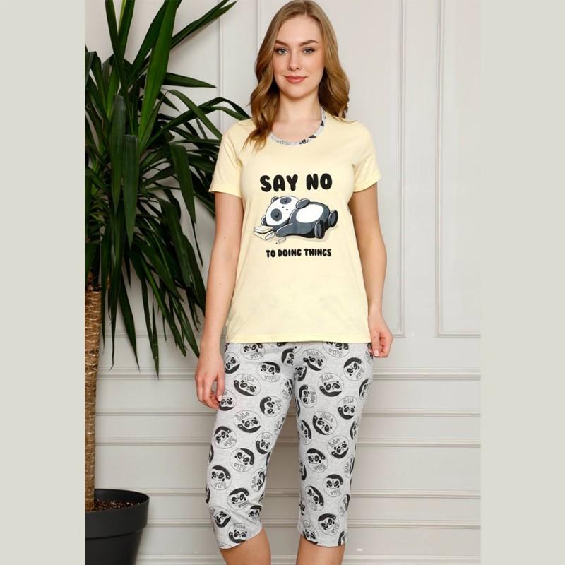 Ciepła piżama damska krótki rękaw kolor żółty M L XL 2XL