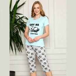 Wygodna ciepła piżama damska kolor miętowy z nadrukiem M L XL 2XL