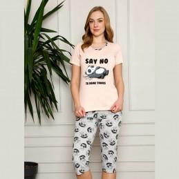 Urocza ciepła piżama damska odcień brzoskwiniowy M L XL 2XL