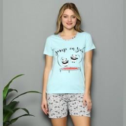 Damska piżama na lato z nadrukiem z pandą w niebieskim kolorze M L XL 2XL
