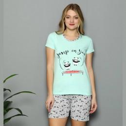 Wygodna piżama damska idealna na lato wzór z pandami M L XL 2XL