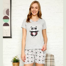 Urocza piżama damska na lato z serduszkami M L XL 2XL