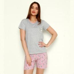 Piżama damska krótkie różowe spodenki wzór z królikiem M L XL 2XL 3XL