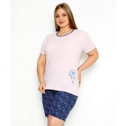 Jasna różowa piżama nocna damska z niebieskim nadrukiem plus size XL 2XL 3XL 4XL