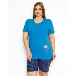 Letnia niebieska piżama nocna damska z kwiatkiem plus size XL 2XL 3XL 4XL
