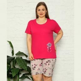 Piżama damska różowa z szortami i krótkim rękawem XL 2XL 3XL 4XL