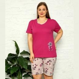 Piżama damska w fioletowym kolorze z krótkimi szortami w kwiaty XL 2XL 3XL 4XL