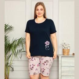 Piżama damska plus size w kolorze granatowym z szortami XL 2XL 3XL 4XL