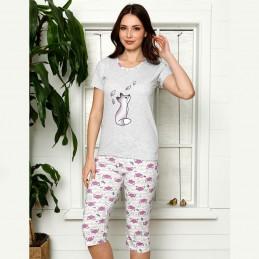 Szaro-fioletowa piżama damska nocna z uroczym nadrukiem M L XL 2XL