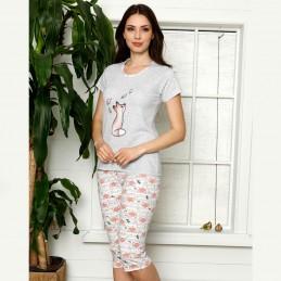 Krótka piżama damska nocna kolor pomarańczowy M L XL 2XL