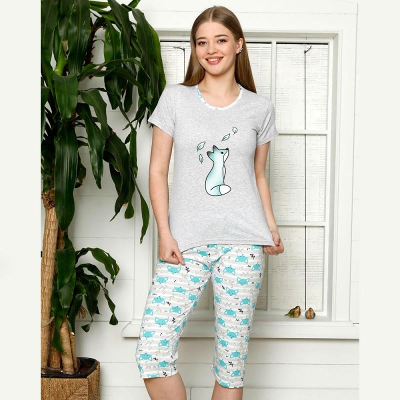 Damska piżama nocna niebieska nadruk z lisem M L XL 2XL
