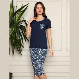 Ciemna piżama damska komplet długi wzór moro M L XL 2XL 3XL