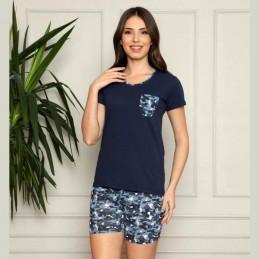 Granatowa piżama damska komplet krótka M L XL 2XL 3XL