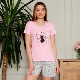 Piżama damska krótka kolor różowy nadruk z kotem M L XL 2XL