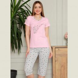 Piżama damska dwuczęściowa z nutkami kolor różowy M L XL 2XL