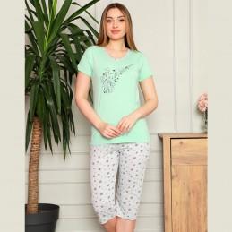 Dwuczęściowa miętowa piżama damska z nutkami M L XL 2XL