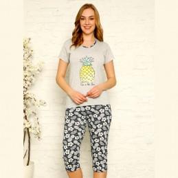 Bawełniana piżama damska kolor szary z ananasem M L XL 2XL