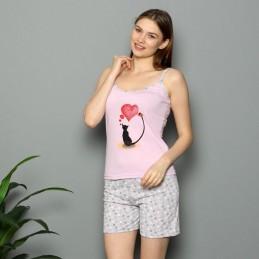 Letnia różowa piżama damska z nadrukiem M L XL 2XL